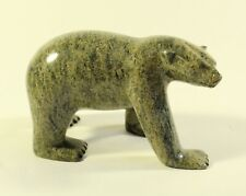 "Inuit Canada Art Carved Soapstone Polar Bear 7"" Long MARKED"