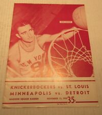 1958 Basketball Program Knickerbockers vs St. Louis Minneapolis vs Detroit