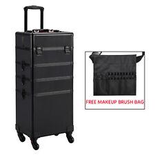 Rolling Aluminum Rolling Makeup Case Cosmetic Lock Trolley Makeup Brush Bag