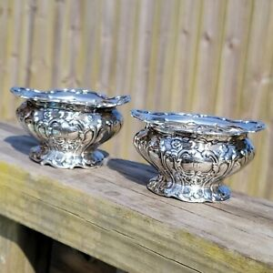 Beautiful Pair of Gorham Chantilly Grand Sterling Silver Salt Cellars c1895