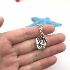 Baseball Glove Necklace Charms Jewelry Tibet silver Pendant Chain Necklace