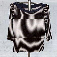 LAUREN RALPH LAUREN Womens XL Top Tunic Blouse~Cotton Thin Knit~Black Tan Stripe