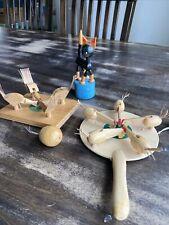 Vintage Easter Basket Wood Toys Cat Chickens Pecking Set Of 3