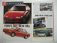 FORD'S HOT NEW EF XR6 & NEW NF FAIRLANE 2 PAGE MAGAZINE PREVIEW ARTICLE
