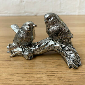 Silver Birds On Tree Branch Garden Decorative Ornament Resin Figurine Sculpture