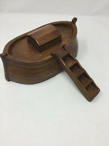 Vintage Solid Wood Carved Ark Ship with detachable ladder