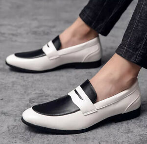 Leather Men's Casual Loafers Breathable Driving Shoes Slip On Moccasins Dress