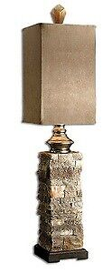 Uttermost 29093-1 Andean - Buffet Table Lamp  Ivory and Brown Finish with