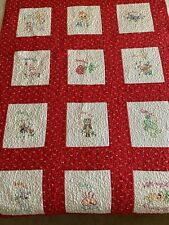 "Vintage Child's Quilt Embroidered Blocks Red White 43""x 59"""