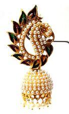 PEACOCK Meenakari Minakari Enamel Jhumka Handpaint Earring Jewelry Drop Long C64