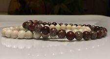 Mens Bracelet set Silver Poppy Jasper & Riverstone Gemstone beads CUSTOM FIT