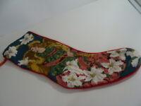 Handmade Needlepoint Christmas Stocking Angel Dove Flowers Velvet 20.5