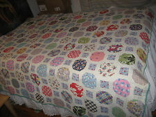 "VIntage Homemade Quilt Beautiful Fabric Patches 75"" x 65"" Cutter Quilt"