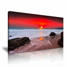 Red Sky Sunset Beach And Sea Canvas Wall Art Picture Print 60x30cm