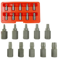 Multi-Spline Screw Extractor | 10pc Set Hex Head Bit Socket Wrench Bolt Remover