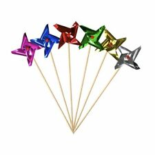 Pinwheel Windmill Cake Topper Cupcake Party Drink Foil Lot of 24