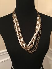 Mix Media Multi Layer Suede Cord Faux Pearls Necklace