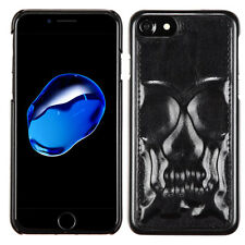 Black SKULL Leather 3D HYBRID Hard Rubber Case Cover For Apple iPhone 7 7 Plus