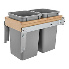 Rev-A-Shelf 4WCTM-15BBSCDM2 Double Soft-Close 27-Quart Top Mount Waste Container