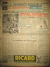 VIN ET CHASSEURS DESSIN M. SCHOUPPE LE FAISAN JOURNAL LA JOURNéE VINICOLE 1951