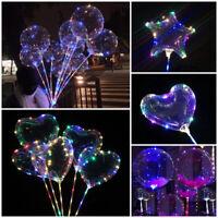 "24"" LED Lights BoBo Transparent Balloon Wedding Birthday Christmas Party Decor K"