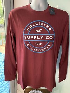 MENS NEW AUTHENTIC HOLLISTER T-SHIRT BERGUNDY L/S EMBROIDERY ABERCROMBIE A&F S M
