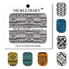 5 x Nail Art Water Slide Decal Sticker  Plaid Design Manicure Water Decals Paper