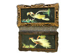 Two VINTAGE BIRD WITH Real Bird Feathers & Hand Painted Background Pictures