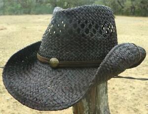 New ROCKSTAR Rock n Roll Biker River Beach Western Black Raffia Straw Cowboy Hat