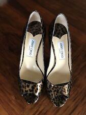 JIMMY CHOO Luna Leopard Print Patent Leather Heels  39