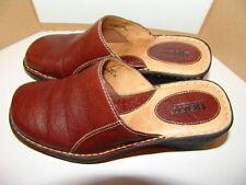 "BORN Women's Dark Brown Leather Slip On Mule Clogs with 2"" Heel- sz-9 M  -EUC"