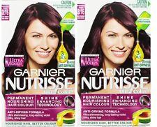 2 x GARNIER NUTRISSE PERMANENT HAIR COLOUR 3.16 ASHY REDDISH DARK BROWN NEW