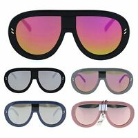 Futuristic Punk Flat Top Racer Plastic Color Mirror Robotic Sunglasses