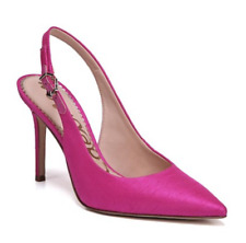 Sam Edelman Hastings Womens Deep Pink Silk Slingback Pump Sz 8 3422