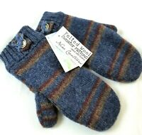 Wool Sweater Mittens Handmade Felted Upcycled Wool Fleece Lined Womens Blue