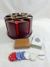 Vintage POKER CHIP CAROUSEL Dark Brown 200 Bakelite Chips Dealer One Card Deck