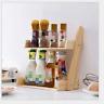 2/3 Tier Wooden Kitchen Spice Jars Rack Holder Shelves Storage Free Standing NEW