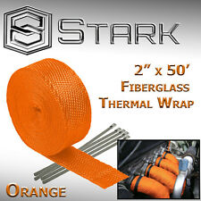 "2"" x 50FT Exhaust Header Fiberglass Heat Wrap Tape w/ 5 Steel Ties - Orange (H)"