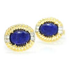 Vintage Lapis Lazuli Men's Cuff Links with Diamonds 14K Yellow Gold 10.30ctw