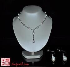 Formal Oval Freshwater Pearl necklace earrings Swarvoski elements Bridal Wedding