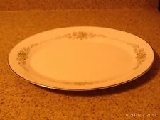 Noritake Gina #6504 Pink and Gray Flowers 14 inch Platter VGUC
