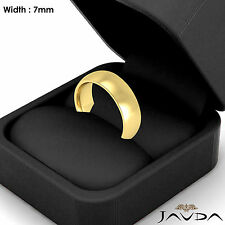 14k Gold Yellow 7mm Men Plain Comfort Dome Wedding Band Solid Ring 10.5gm 9-9.75