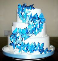 56 x TURQUOISE AQUA  EDIBLE BUTTERFLIES IDEAL WEDDING BIRTHDAY CAKE TOPPERS WB16