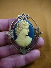 (CM21-26) LOVELY WOMAN curls hair navy blue ivory CAMEO oval Pin Pendant Jewelry