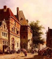 """Huge Oil painting old town landscape A Sunlit Street On A Market Day 24""""x36"""""""
