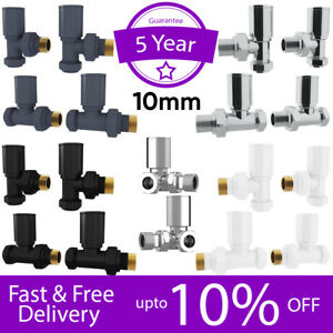Radiator Valves Manual Brass Round Angled/Straight 10mm *Twin Pack**Pair* Taps