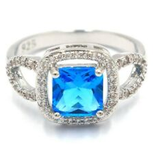 Classic Swiss Blue Topaz White CZ Woman's Gift Silver Ring 7.5