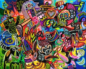 THE CROSS - Toto PISSACO - art brut, figuration libre, street art sur toile