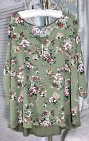 NEW Plus Size 3X Green Rose Floral Zipper V-Neck Top Blouse