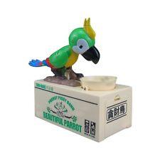 My Cute Parrot Electronic Coin Piggy Bank Eats & Saves Money Box Green